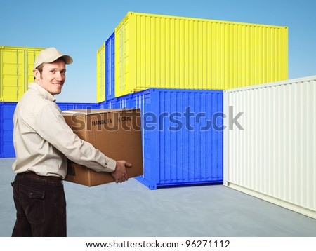 smiling manual worker and 3d container