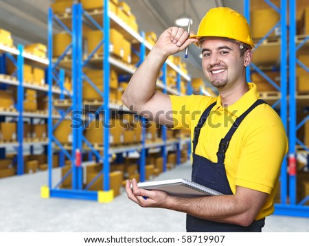 smiling manual worker isolated warehouse 3d  background