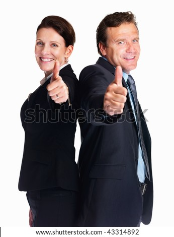 stock photo : Smiling mature business man and woman gesturing a thumbs up ...