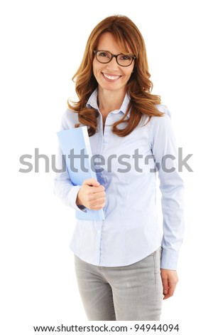 Smiling mature business woman with a file. White background