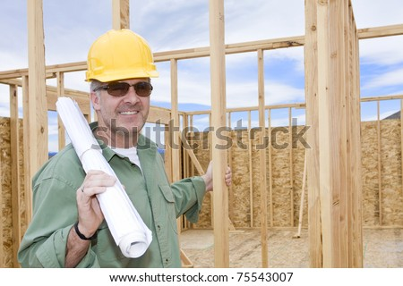 Smiling Mature Construction Manager or contractor