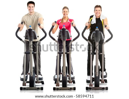 Smiling mature strong men and woman. Gym & Fitness - stock photo