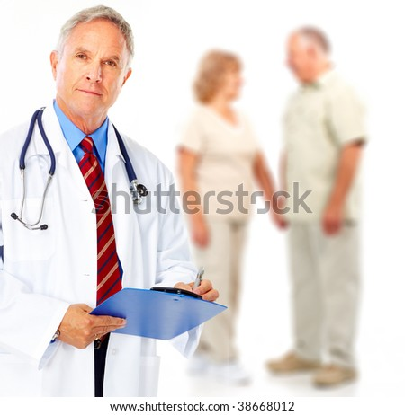 Smiling medical doctor with stethoscope and elderly couple