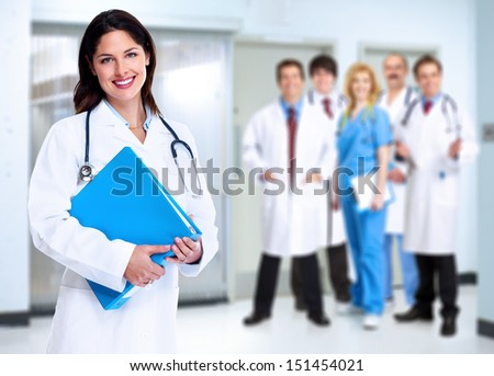 Smiling medical doctor woman with stethoscope Health care