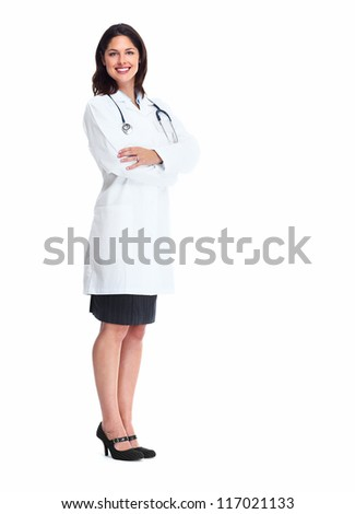 Smiling medical doctor woman with stethoscope. Isolated over white background.