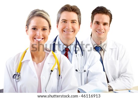 Smiling medical doctors people with stethoscopes. Isolated over white background