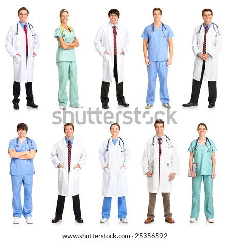 Smiling medical people with stethoscopes. Doctors and nurses over white background - stock photo
