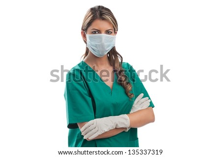 Smiling medical woman doctor. Isolated over white background #135337319