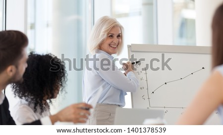 Smiling middle-aged female coach presenting business plan, strategy or new project results on flipchart, mature businesswoman holding briefing, staff training, make presentation on whiteboard close up #1401378539
