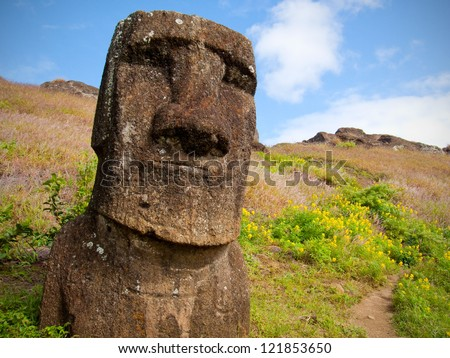Smiling Moai inside the crater of Rano Raraku volcano, Easter Island, Chile, Polynesia.