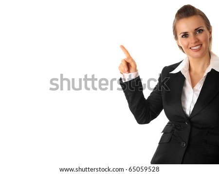 smiling modern business woman pointing finger on isolated on white
