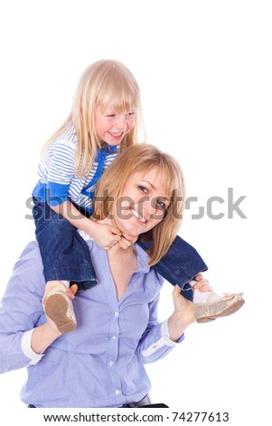Smiling mom with child on shoulders, isolated