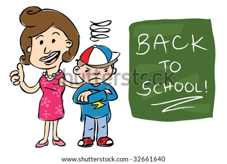"Smiling mother giving camera thumbs up standing beside grumpy son with ""Back to School!"" text on chalkboard"