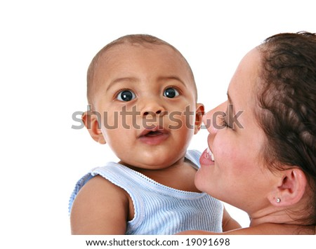 Smiling Mother Holding Baby on Isolated Background