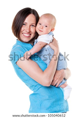 smiling mother holding her baby. isolated on white background