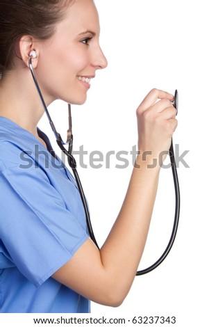 Smiling nurse holding stethoscope