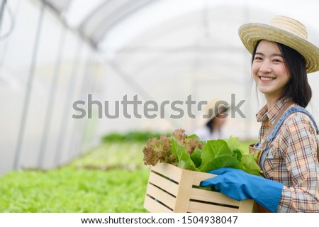 smiling of farmer in working place, organics farm