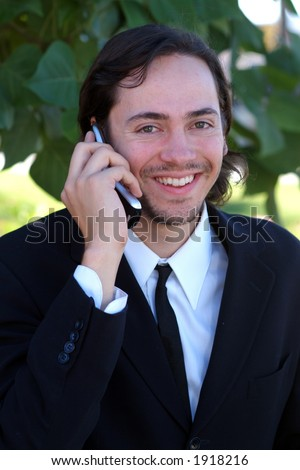 smiling on cell phone
