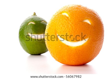 smiling orange and lime