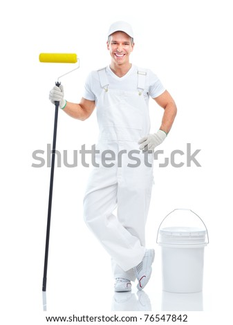 Smiling painter man in white uniform. Isolated over white background