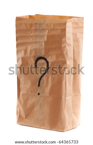 Smiling paper bag. Concept. Isolated on white.