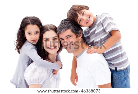 Smiling parents giving their children a piggyback ride against a white background