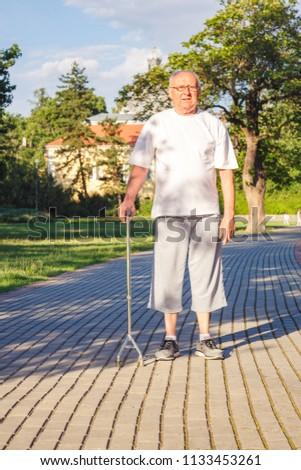 Smiling pensioner enjoying walk in park with stick #1133453261