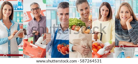 Smiling people at the store, customers doing grocery shopping and supermarket clerks, picture collage