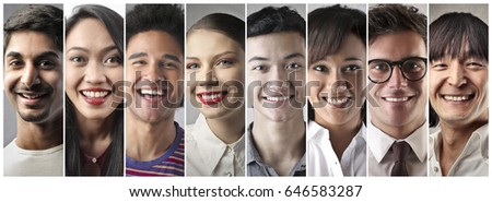 Smiling people from different cultures  #646583287