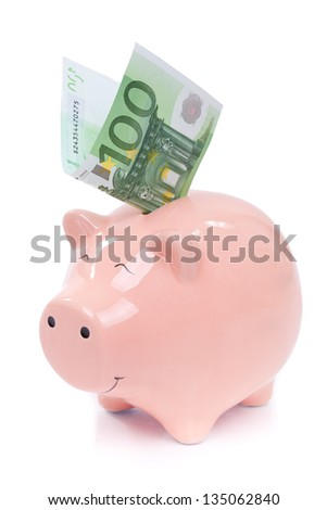 Smiling  Piggy bank with euro bills isolated on white background