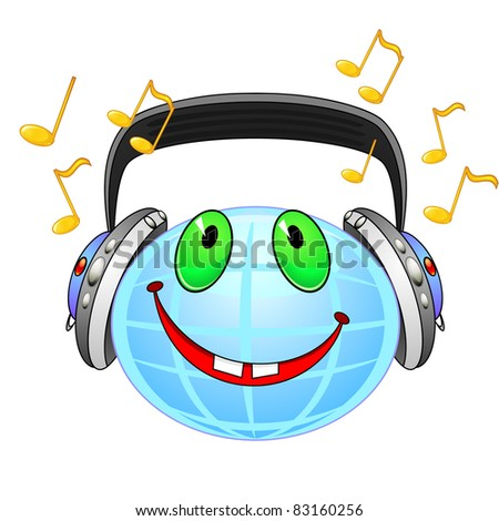Smiling planet Earth with earphones listening music