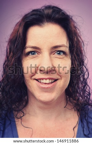 Smiling portrait face of real woman with retro colour and high detail - Shutterstock ID 146911886