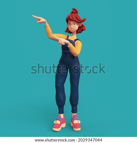 Smiling positive funny casual redhead girl in glasses wearing blue apron, yellow t-shirt, red sneakers showing you way, pointing her finger to empty copy space for advertising. 3d render minimal style