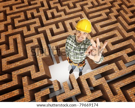 smiling positive worker in 3d maze
