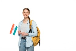 smiling pretty student with backpack holding flag of India isolated on white
