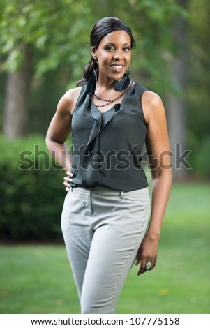 Smiling Pretty Young African American Female Portrait Outdoor