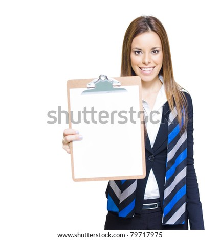 Smiling Real Estate Agent Of Courier Driver Woman Holding Up A Black Clipboard With Copyspace In A Business Customer Service Concept, On White Background