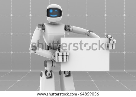 Smiling robot holding and pointing a white sign board