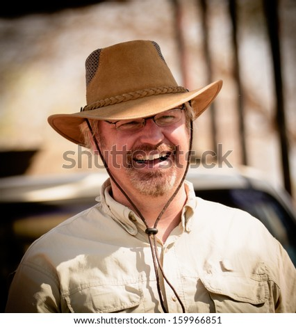 smiling safari man in Africa