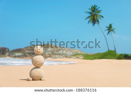Smiling sandy happy man at ocean beach against blue sky and palms - travel concept