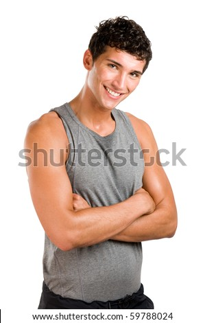 Smiling satisfied active young man looking at camera isolated on white background