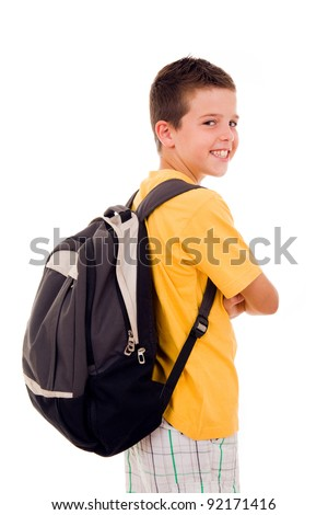 Smiling school boy over white background