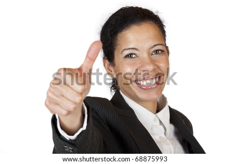 Smiling self confident business woman shows thumb up. Isolated on white background.