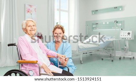 Smiling senior citizen in wheelchair with nurse in hospital or nursing home (3d rendering)