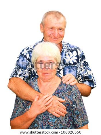 Smiling senior couple embracing
