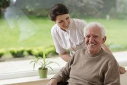Smiling senior man staying in nursing home