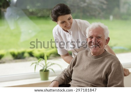 Smiling senior man staying in nursing home