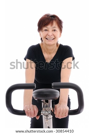 smiling senior woman - isolated