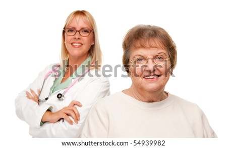 Smiling Senior Woman with Female Doctor Behind Isolated on a White Background.