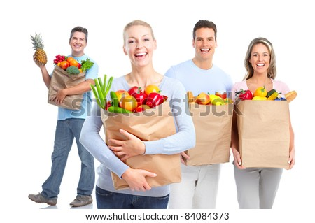 Smiling shopping people. Isolated over vhite background.